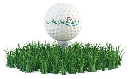 golf ball with Amelia River logo